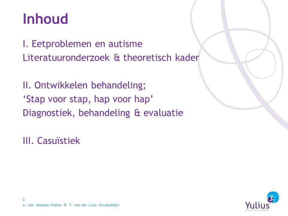 Inhoud 2 I. Eetproblemen en autisme Literatuuronderzoek & theoretisch kader II.