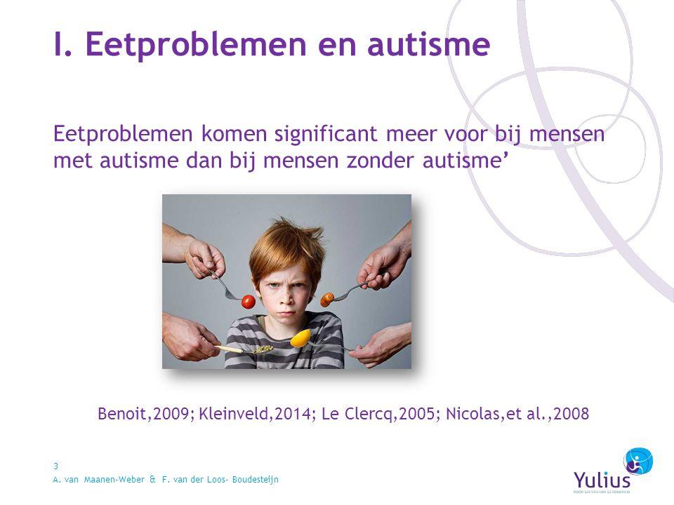 I. Eetproblemen en autisme 3 Eetproblemen komen significant meer voor bij mensen met autisme dan bij mensen zonder autisme' Benoit,2009; Kleinveld,201