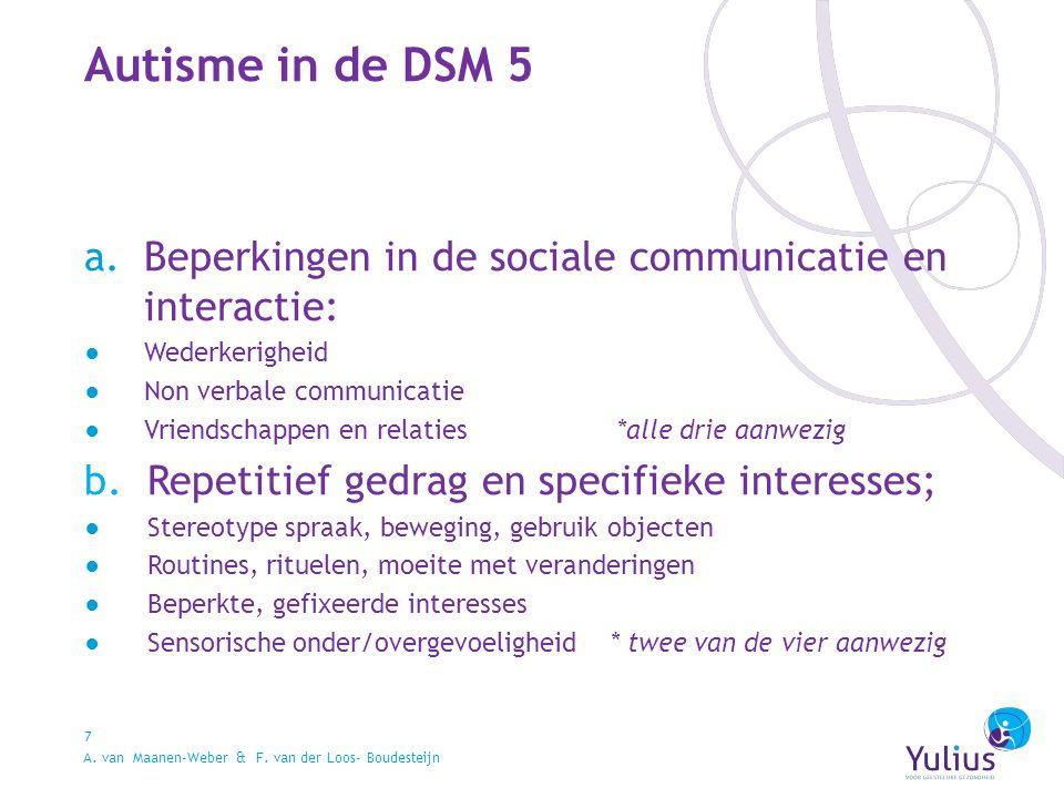 Autisme in de DSM 5 7 a.Beperkingen in de sociale communicatie en interactie: ●Wederkerigheid ●Non verbale communicatie ●Vriendschappen en relaties *alle drie aanwezig b.