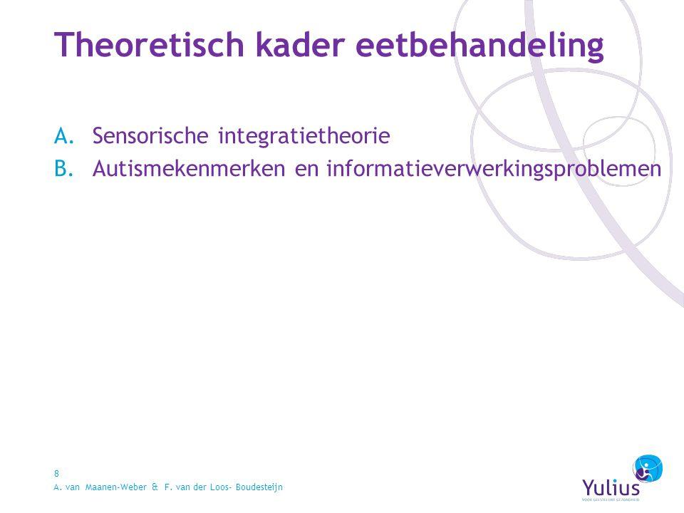 Theoretisch kader eetbehandeling 8 A.Sensorische integratietheorie B.Autismekenmerken en informatieverwerkingsproblemen A.