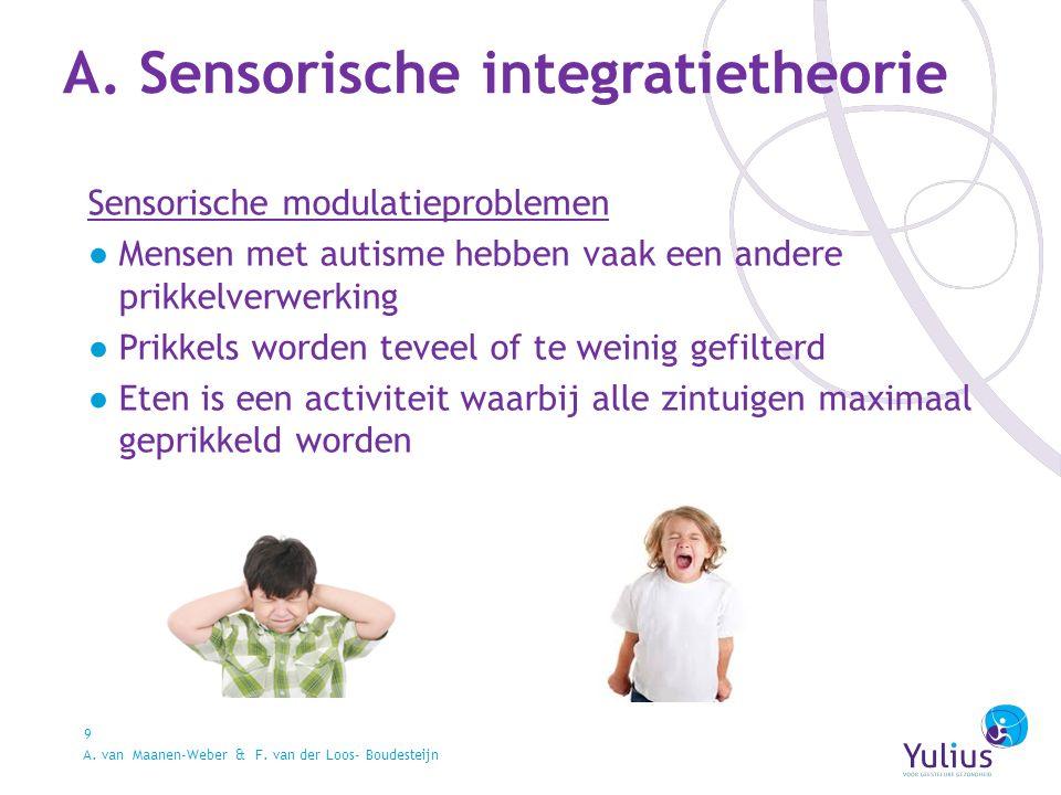 A. Sensorische integratietheorie 9 Sensorische modulatieproblemen ●Mensen met autisme hebben vaak een andere prikkelverwerking ●Prikkels worden teveel