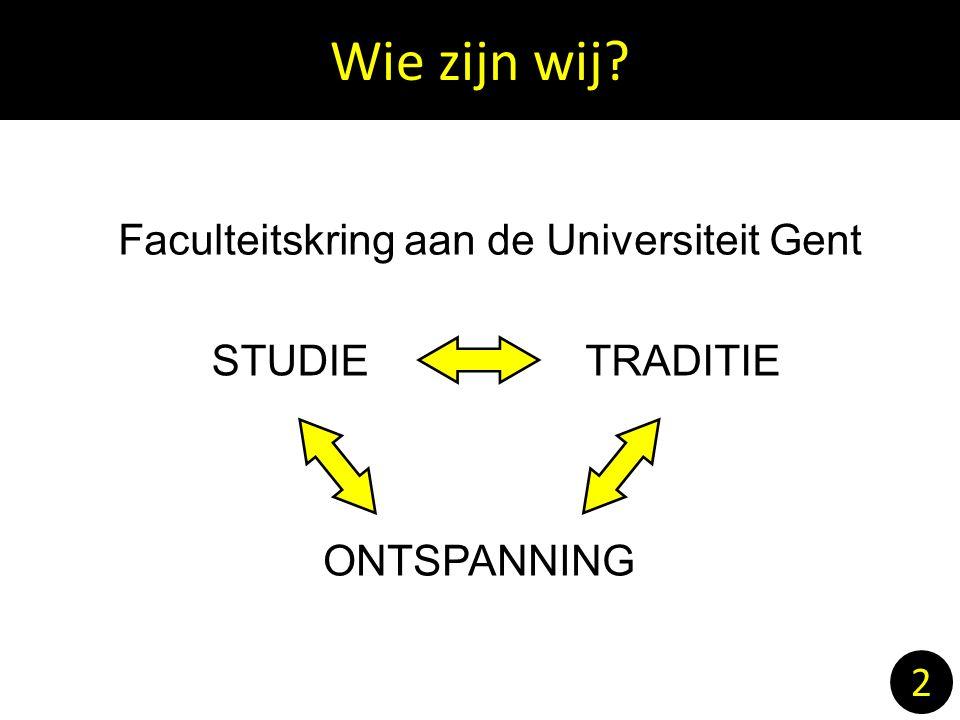 2 Faculteitskring aan de Universiteit Gent STUDIE TRADITIE ONTSPANNING Wie zijn wij