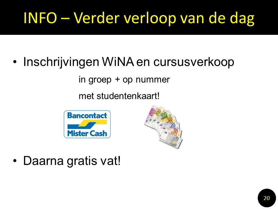INFO – Verder verloop van de dag 1010 20 Inschrijvingen WiNA en cursusverkoop in groep + op nummer met studentenkaart.