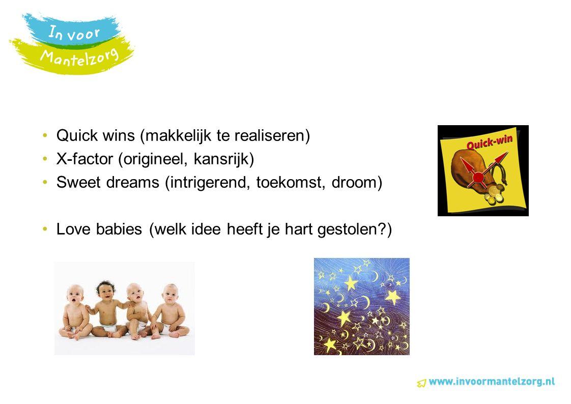Quick wins (makkelijk te realiseren) X-factor (origineel, kansrijk) Sweet dreams (intrigerend, toekomst, droom) Love babies (welk idee heeft je hart gestolen?)