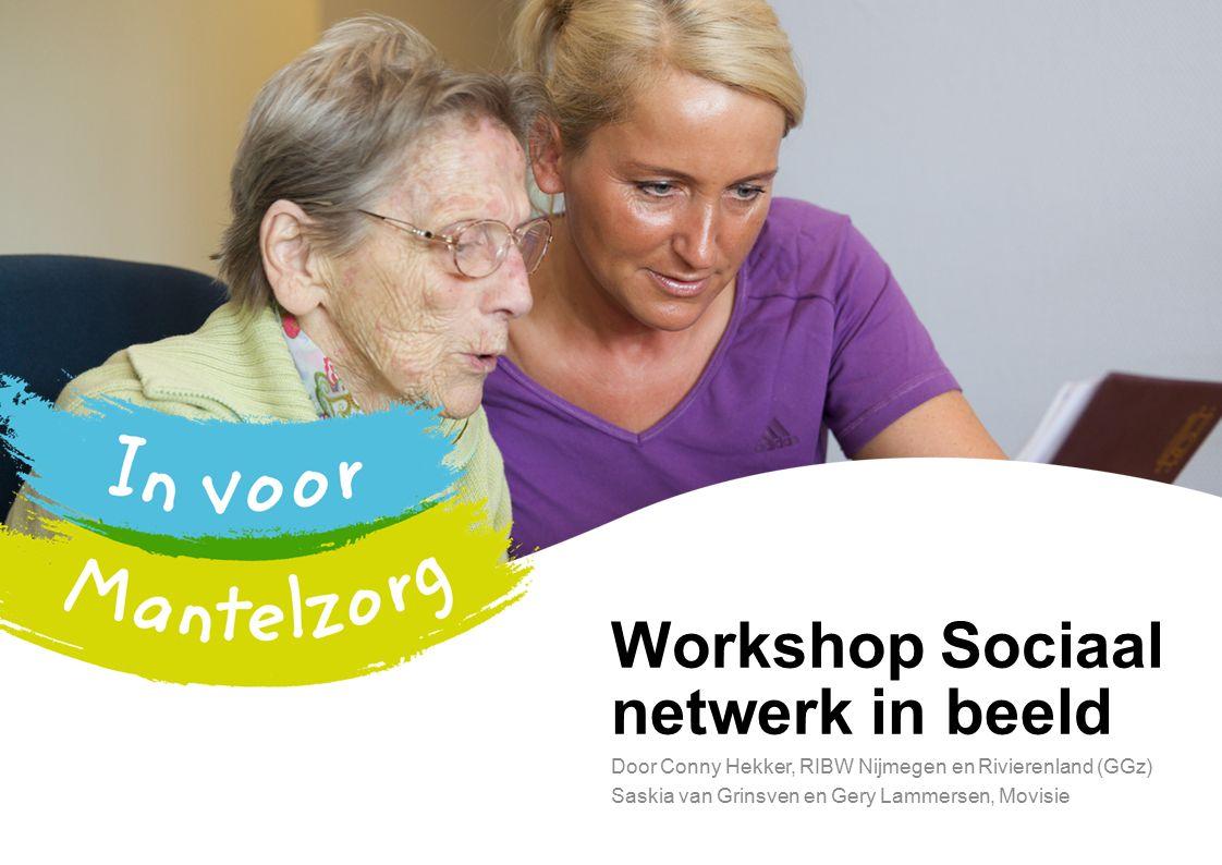 Workshop Sociaal netwerk in beeld Door Conny Hekker, RIBW Nijmegen en Rivierenland (GGz) Saskia van Grinsven en Gery Lammersen, Movisie