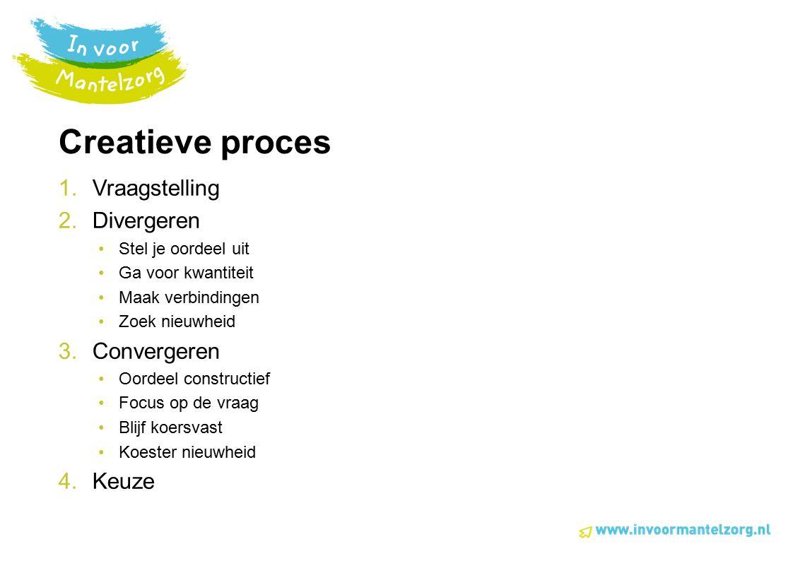 Creatieve proces 1.Vraagstelling 2.Divergeren Stel je oordeel uit Ga voor kwantiteit Maak verbindingen Zoek nieuwheid 3.Convergeren Oordeel constructi