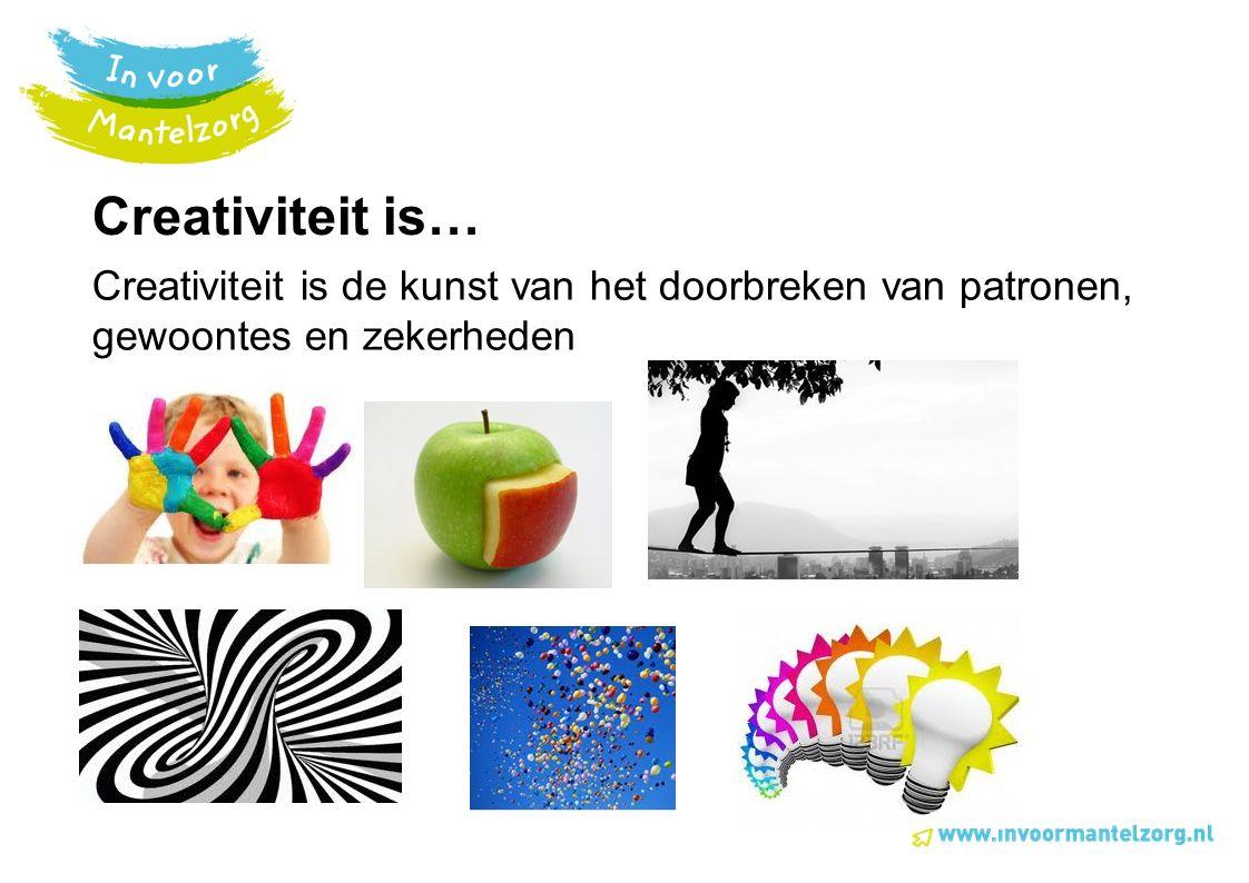 Creativiteit is… Creativiteit is de kunst van het doorbreken van patronen, gewoontes en zekerheden