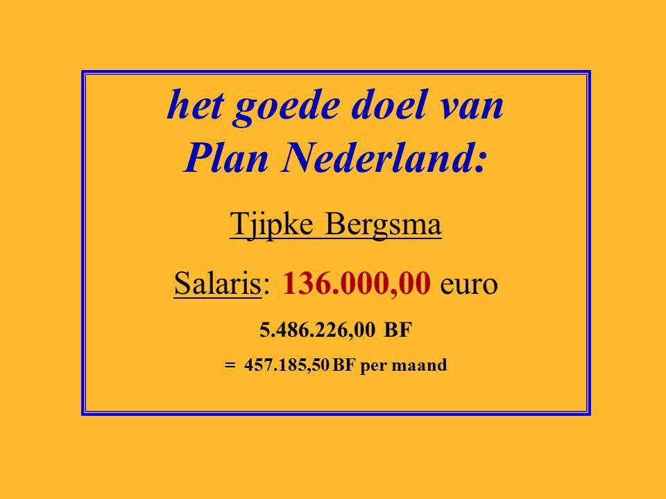 het goede doel van Natuurmonumenten: Jan Jaap de Graeff Salaris: 154.000,00 euro 6.212.345,00 BF = 517.695,42 BF per maand