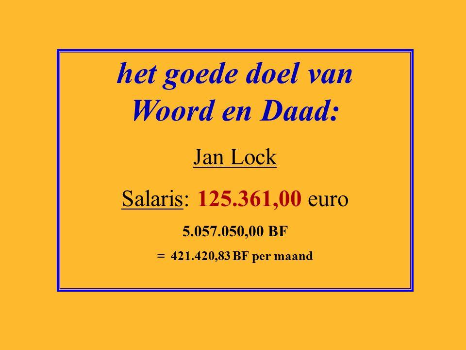 het goede doel van Greenpeace: Liesbeth van Tongeren Salaris: 126.901,00 euro 5.119.174,00 BF = 426.597,83 BF per maand