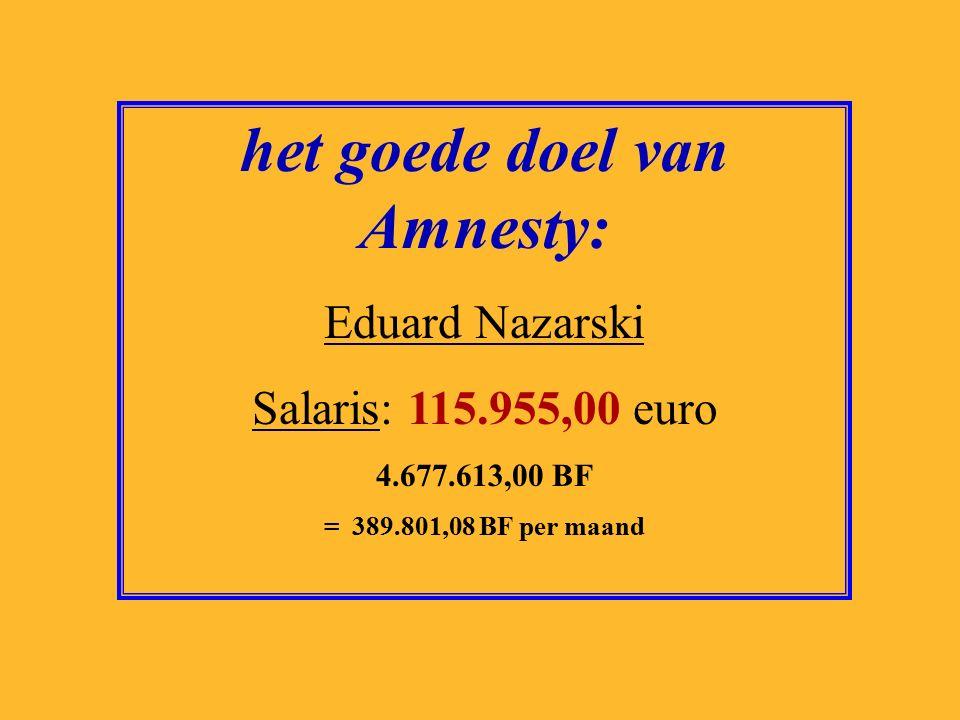 het goede doel van Terres des Hommes: Ron van Huizen Salaris: 117.440,00 euro 4.737.518,00 BF = 394.793,17 BF per maand