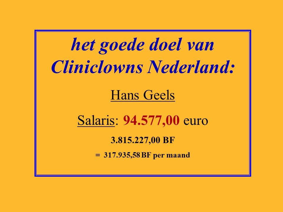 het goede doel van SOS Kinderdorp: Albert Jaap van Santbrink Salaris: 103.164,00 euro 4.161.625,00 BF = 346.802,08 BF per maand