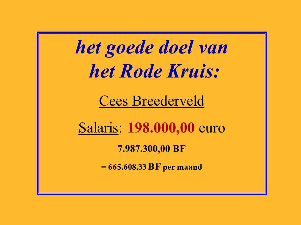 het goede doel van het Rode Kruis: Cees Breederveld Salaris: 198.000,00 euro 7.987.300,00 BF = 665.608,33 BF per maand