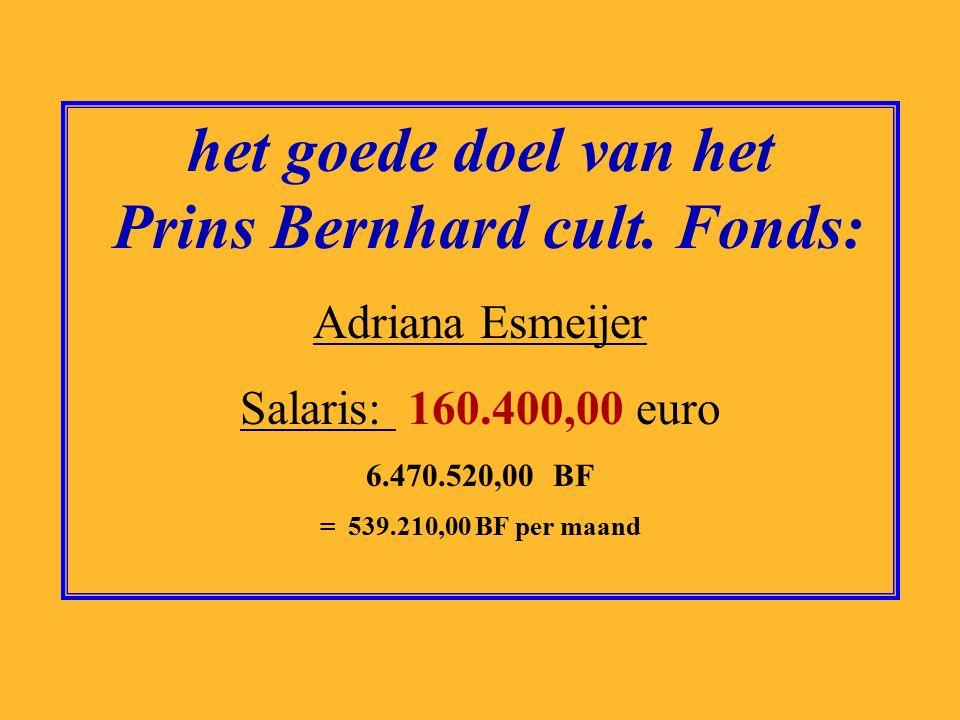 het goede doel van Artsen zonder Grenzen: Hans van de Weerd Salaris: 174.000,00 euro 7.019.143,00 BF = 584.928,58 BF per maand