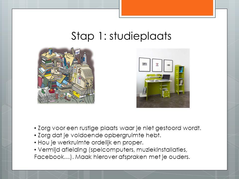 Stap 1: studieplaats Zorg voor een rustige plaats waar je niet gestoord wordt. Zorg dat je voldoende opbergruimte hebt. Hou je werkruimte ordelijk en