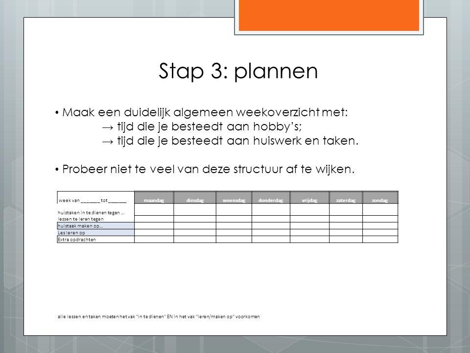 Stap 3: plannen Maak een duidelijk algemeen weekoverzicht met: → tijd die je besteedt aan hobby's; → tijd die je besteedt aan huiswerk en taken.