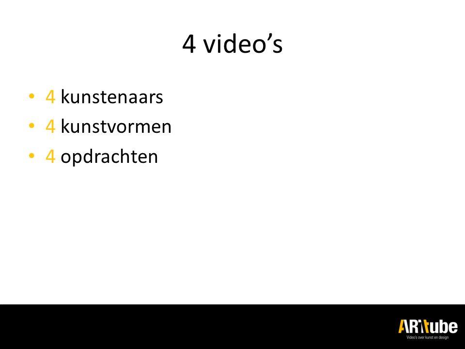 4 video's 4 kunstenaars 4 kunstvormen 4 opdrachten