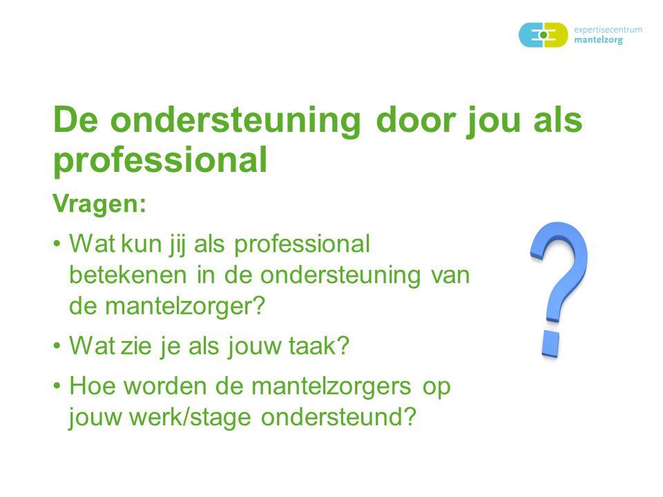 De ondersteuning door jou als professional Vragen: Wat kun jij als professional betekenen in de ondersteuning van de mantelzorger? Wat zie je als jouw