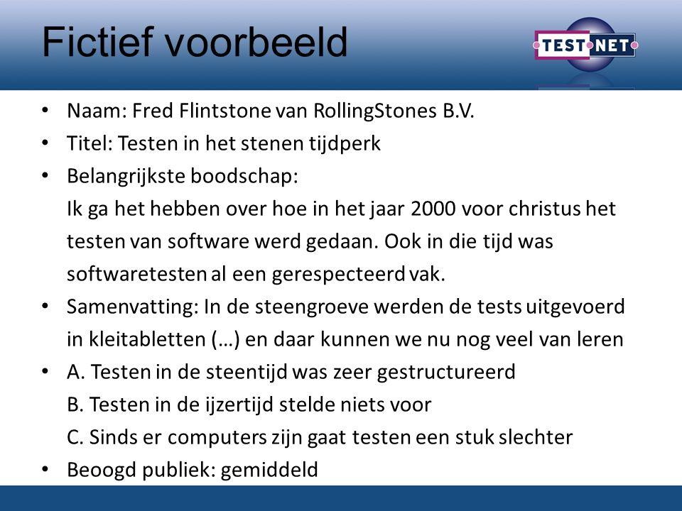 Fictief voorbeeld Naam: Fred Flintstone van RollingStones B.V.