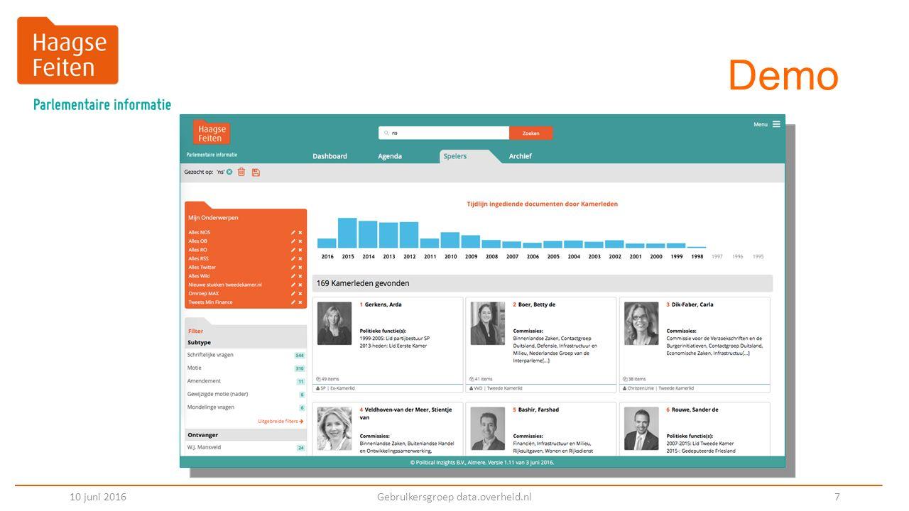 Demo 10 juni 2016Gebruikersgroep data.overheid.nl 7
