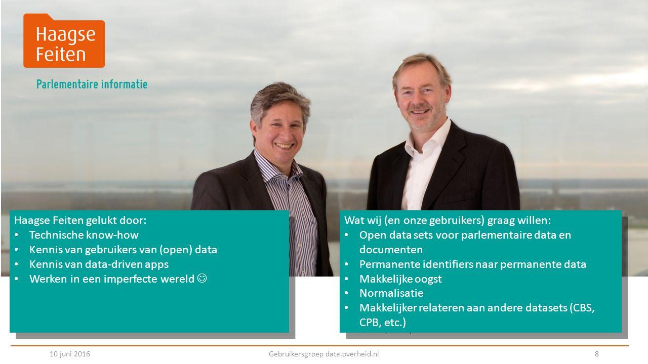 Volg ons @haagsefeiten 10 juni 2016Gebruikersgroep data.overheid.nl 9 Maak een gratis account aan op haagsefeiten.nl