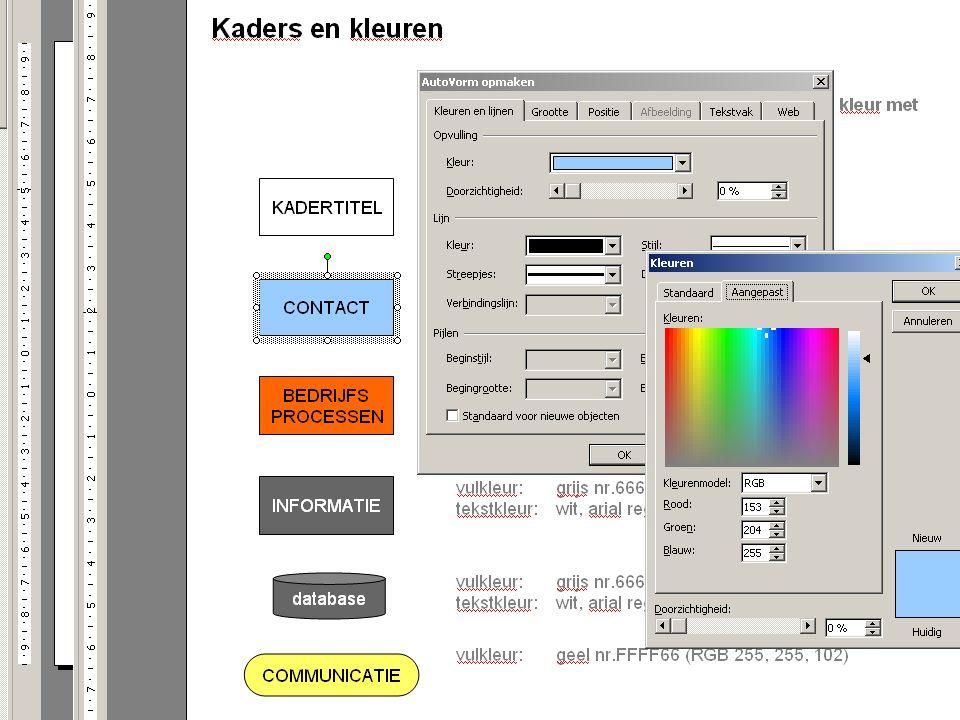 Juli 2012 | NORA beeldtaal | versie 2.1 Dubbelklik op kleurvlak; klik op 'meer kleuren' Aan de hand van de RGB-code (verhouding tussen rood, geel, blauw) kleur instellen.