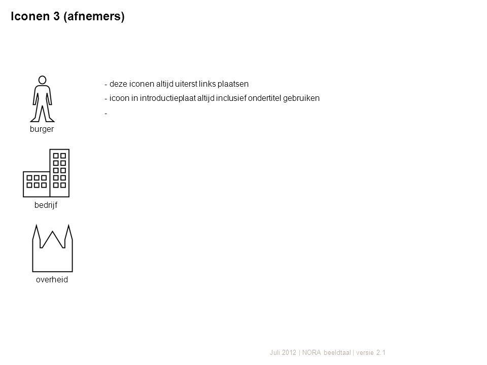 Juli 2012 | NORA beeldtaal | versie 2.1 - deze iconen altijd uiterst links plaatsen - icoon in introductieplaat altijd inclusief ondertitel gebruiken - Iconen 3 (afnemers) burger bedrijf overheid