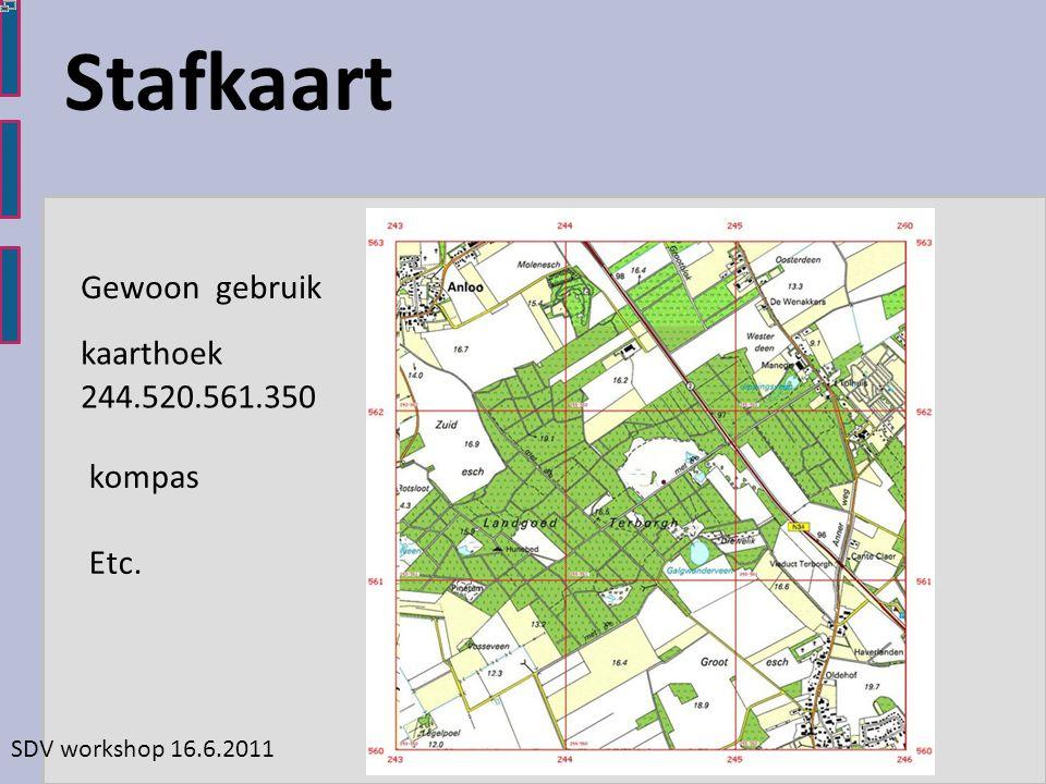 SDV workshop 16.6.2011 Stafkaart kaarthoek 244.520.561.350 kompas Etc. Gewoon gebruik