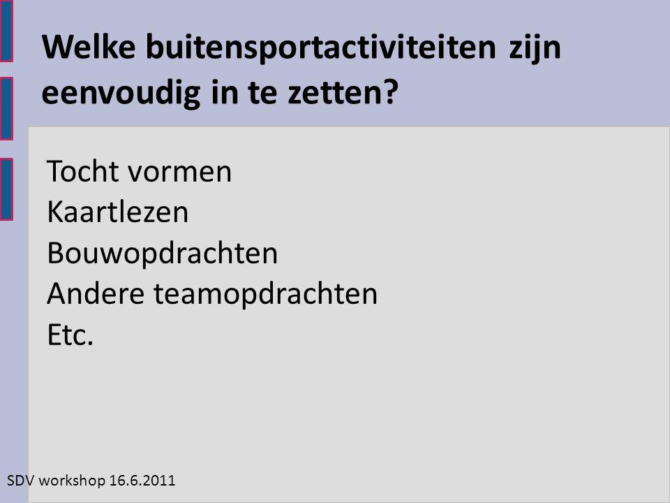 SDV workshop 16.6.2011 Tocht vormen Kaartlezen Bouwopdrachten Andere teamopdrachten Etc.