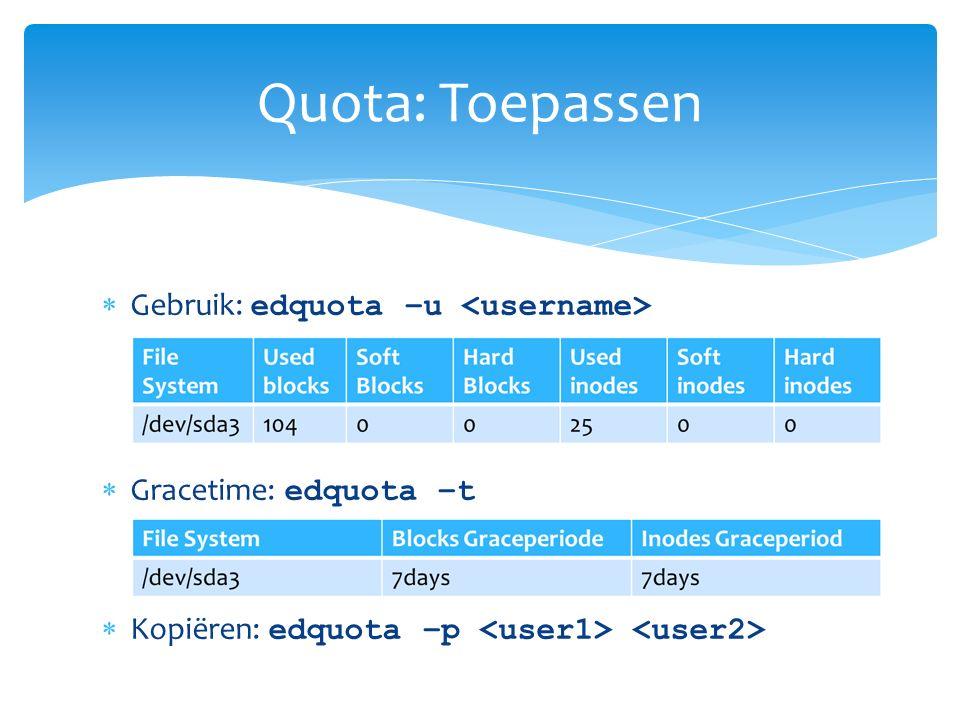  Service starten:  /etc/init.d/quota start  chkconfig quota on  Overige zaken:  Cronjob quotacheck t.b.v nieuwe gebruikers  Cronjob repquota om quota te monitoren Quota: Service en overig