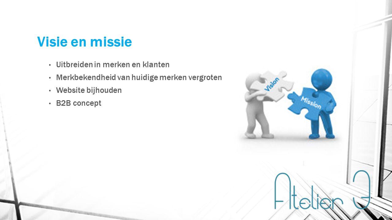 Visie en missie Uitbreiden in merken en klanten Merkbekendheid van huidige merken vergroten Website bijhouden B2B concept
