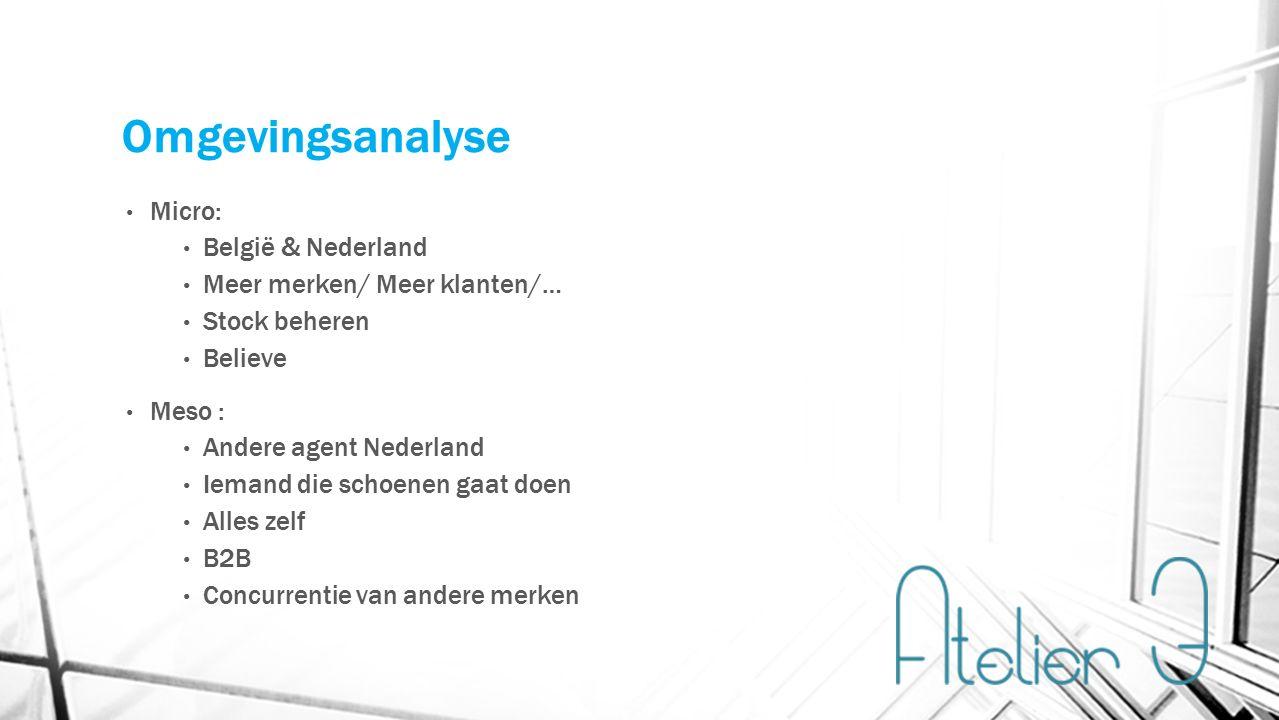 Omgevingsanalyse Micro: België & Nederland Meer merken/ Meer klanten/… Stock beheren Believe Meso : Andere agent Nederland Iemand die schoenen gaat doen Alles zelf B2B Concurrentie van andere merken