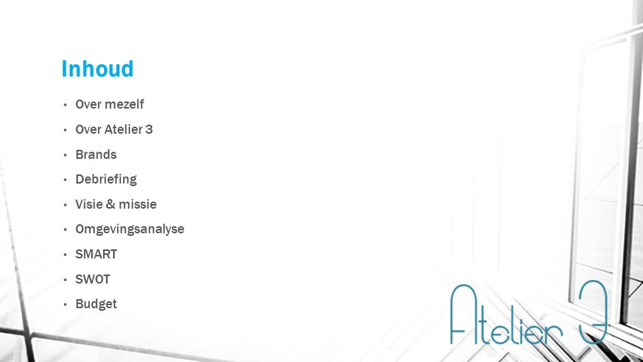 Inhoud Over mezelf Over Atelier 3 Brands Debriefing Visie & missie Omgevingsanalyse SMART SWOT Budget