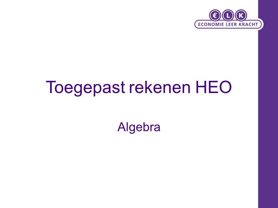 Toegepast rekenen HEO Algebra