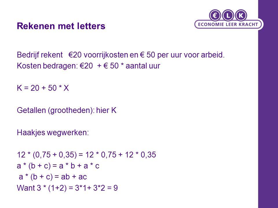 Rekenen met letters Bedrijf rekent €20 voorrijkosten en € 50 per uur voor arbeid. Kosten bedragen: €20 + € 50 * aantal uur K = 20 + 50 * X Getallen (g