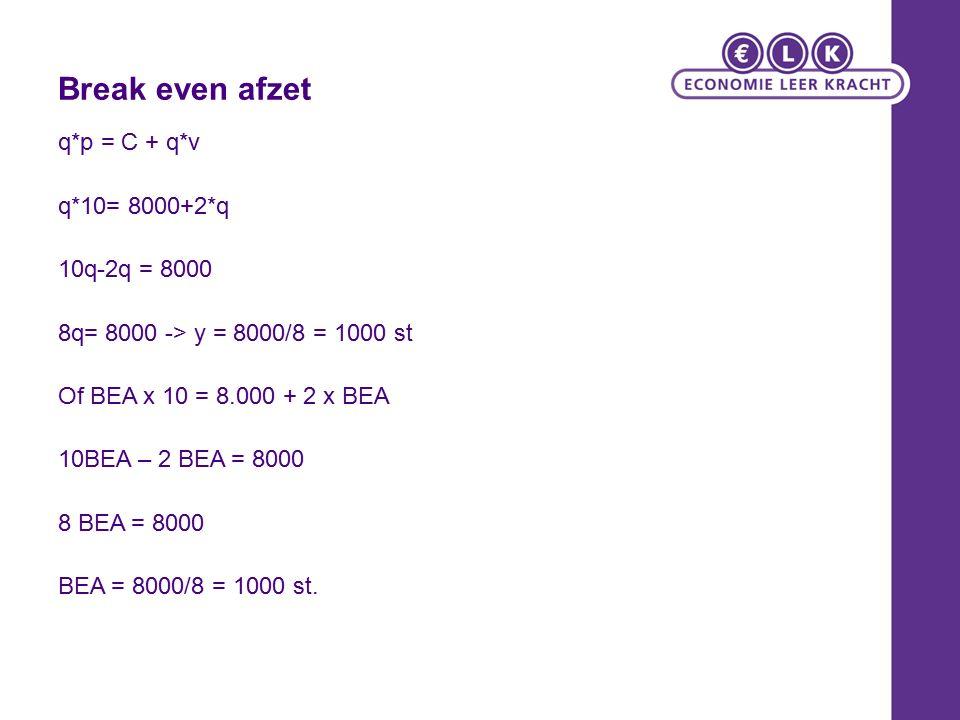 Break even afzet q*p = C + q*v q*10= 8000+2*q 10q-2q = 8000 8q= 8000 -> y = 8000/8 = 1000 st Of BEA x 10 = 8.000 + 2 x BEA 10BEA – 2 BEA = 8000 8 BEA = 8000 BEA = 8000/8 = 1000 st.