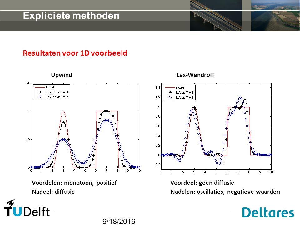 9/18/2016 Expliciete methoden Resultaten voor 1D voorbeeld Upwind Lax-Wendroff Voordelen: monotoon, positief Voordeel: geen diffusie Nadeel: diffusie Nadelen: oscillaties, negatieve waarden