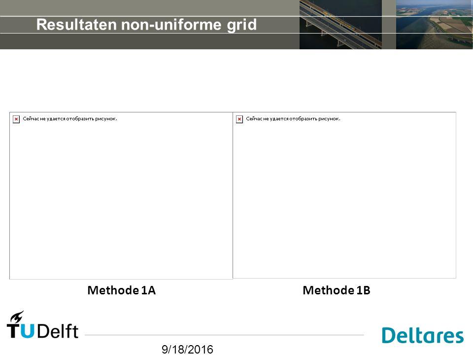 9/18/2016 Resultaten non-uniforme grid Methode 1AMethode 1B