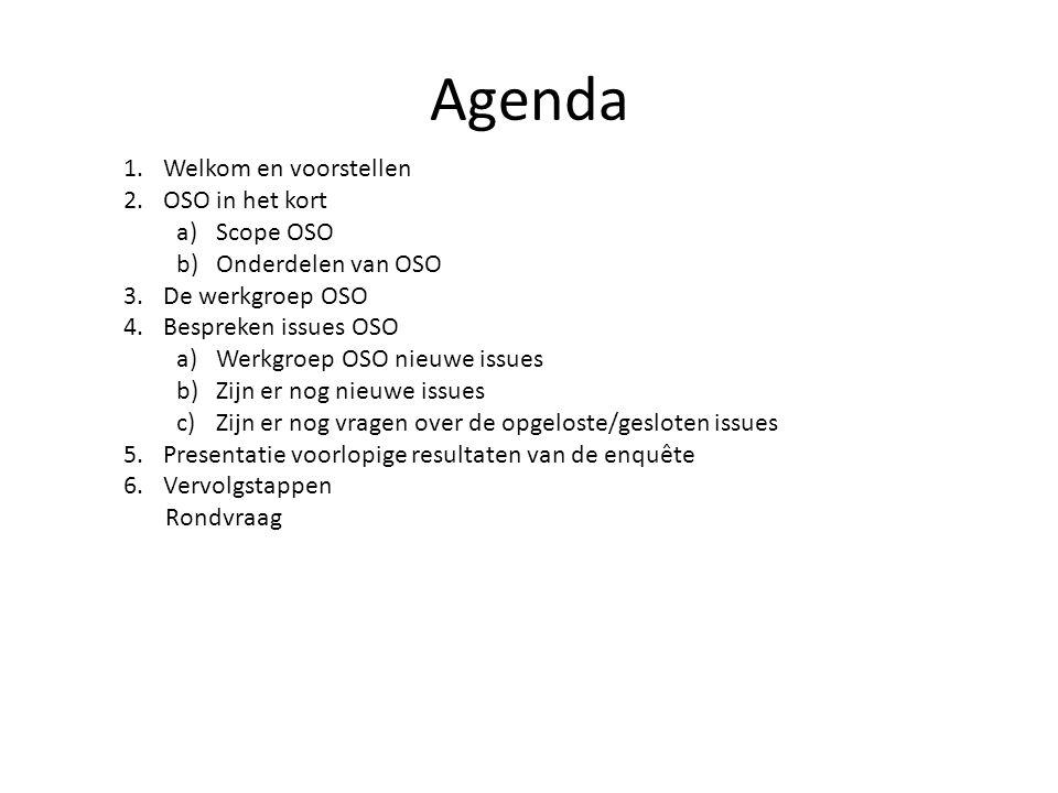 Agenda 1.Welkom en voorstellen 2.OSO in het kort a)Scope OSO b)Onderdelen van OSO 3.De werkgroep OSO 4.Bespreken issues OSO a)Werkgroep OSO nieuwe issues b)Zijn er nog nieuwe issues c)Zijn er nog vragen over de opgeloste/gesloten issues 5.Presentatie voorlopige resultaten van de enquête 6.Vervolgstappen Rondvraag