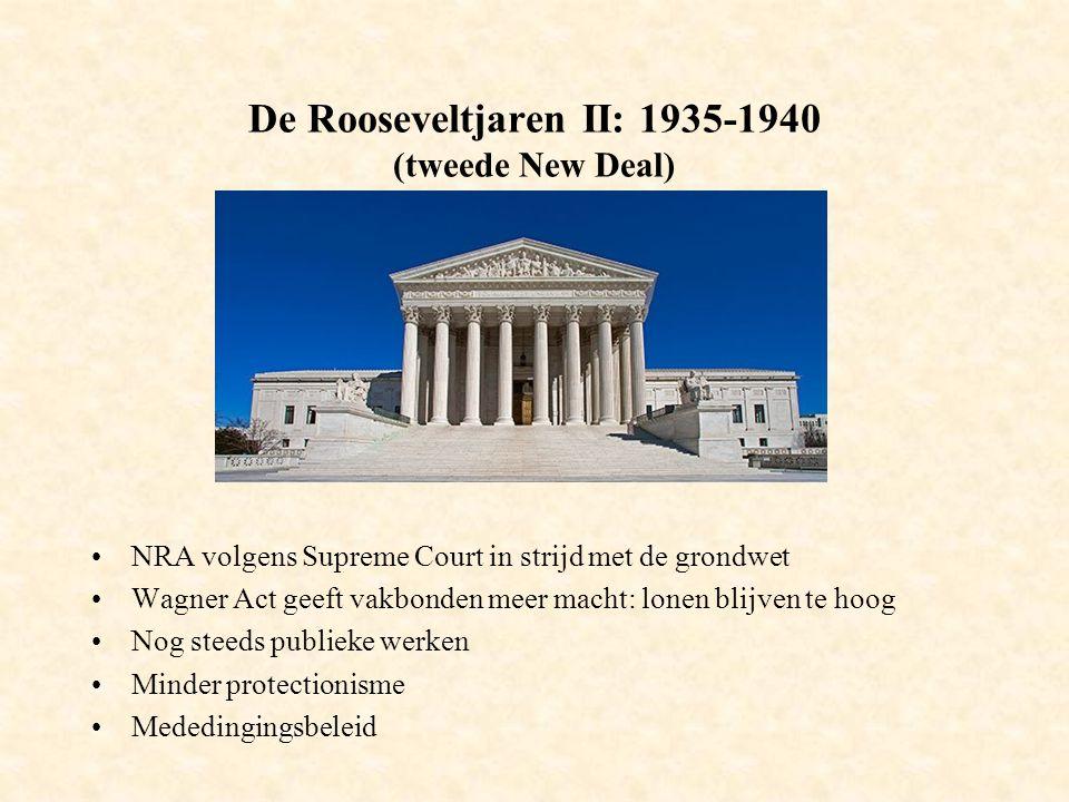 De Rooseveltjaren II: 1935-1940 (tweede New Deal) NRA volgens Supreme Court in strijd met de grondwet Wagner Act geeft vakbonden meer macht: lonen blijven te hoog Nog steeds publieke werken Minder protectionisme Mededingingsbeleid