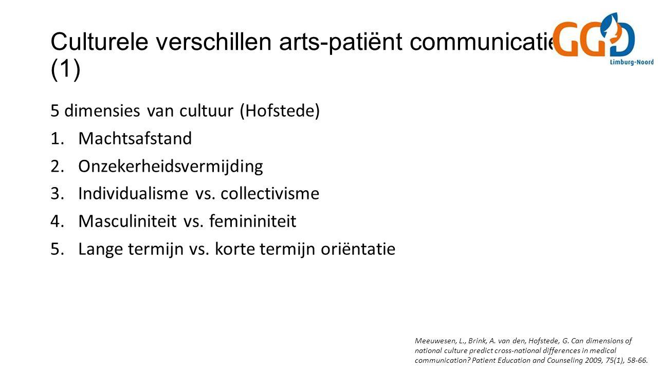 Culturele verschillen arts-patiënt communicatie (1) 5 dimensies van cultuur (Hofstede) 1.Machtsafstand 2.Onzekerheidsvermijding 3.Individualisme vs.