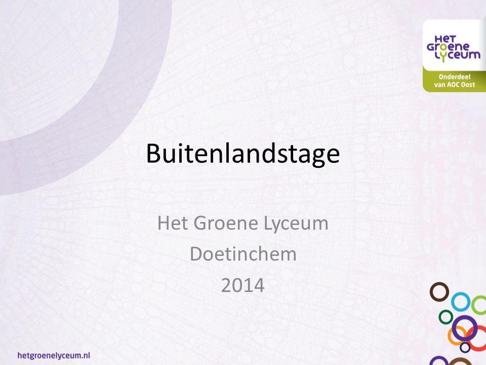 Buitenlandstage Het Groene Lyceum Doetinchem 2014