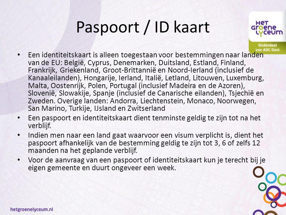Paspoort / ID kaart Een identiteitskaart is alleen toegestaan voor bestemmingen naar landen van de EU: België, Cyprus, Denemarken, Duitsland, Estland,