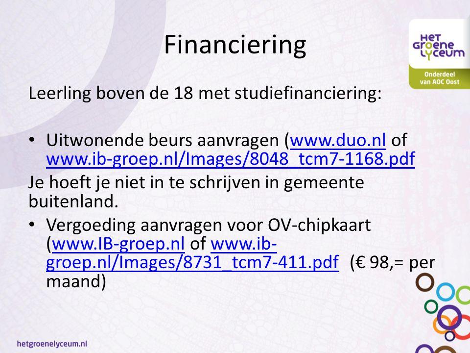 Financiering Leerling boven de 18 met studiefinanciering: Uitwonende beurs aanvragen (www.duo.nl of www.ib-groep.nl/Images/8048_tcm7-1168.pdfwww.duo.n