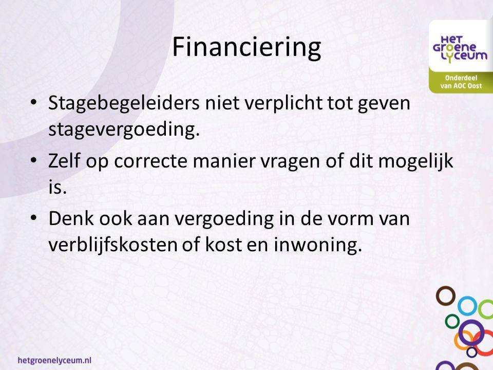 Financiering Stagebegeleiders niet verplicht tot geven stagevergoeding.