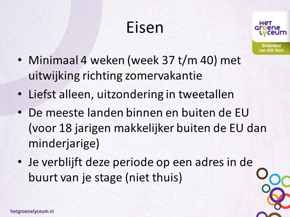 Eisen Minimaal 4 weken (week 37 t/m 40) met uitwijking richting zomervakantie Liefst alleen, uitzondering in tweetallen De meeste landen binnen en bui