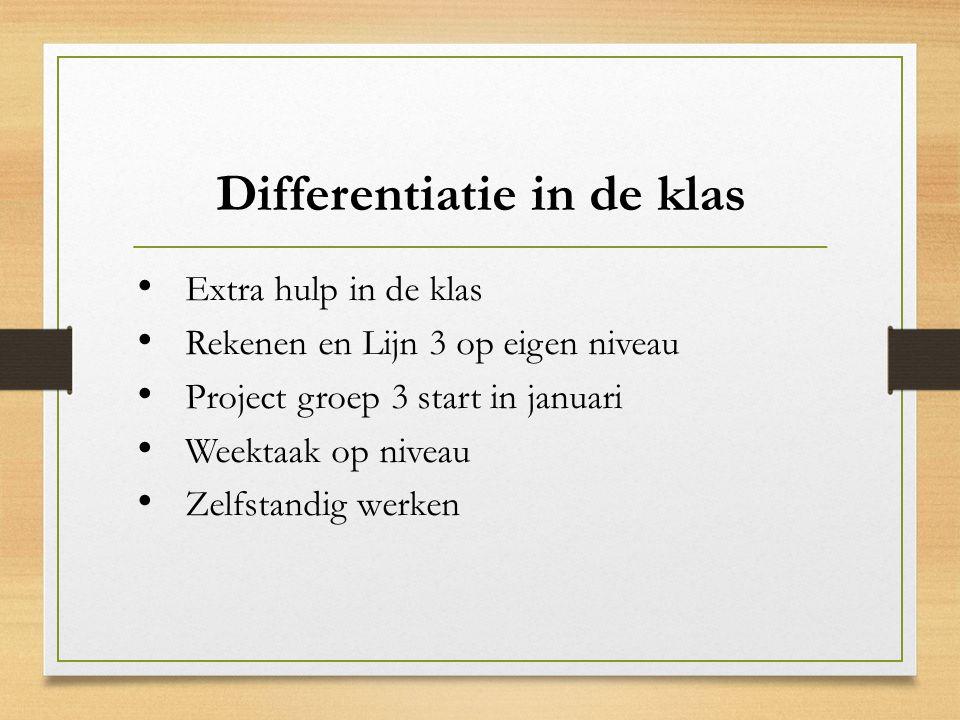 Differentiatie in de klas Extra hulp in de klas Rekenen en Lijn 3 op eigen niveau Project groep 3 start in januari Weektaak op niveau Zelfstandig werken