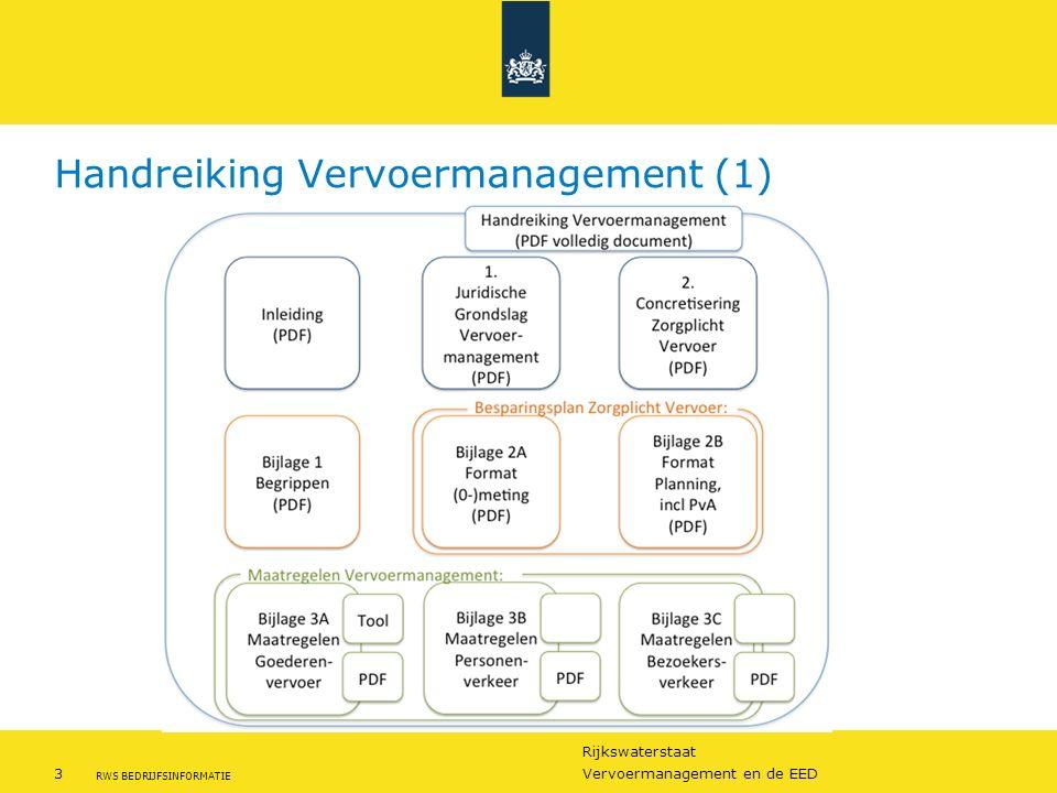 Rijkswaterstaat 3Vervoermanagement en de EED RWS BEDRIJFSINFORMATIE Handreiking Vervoermanagement (1)