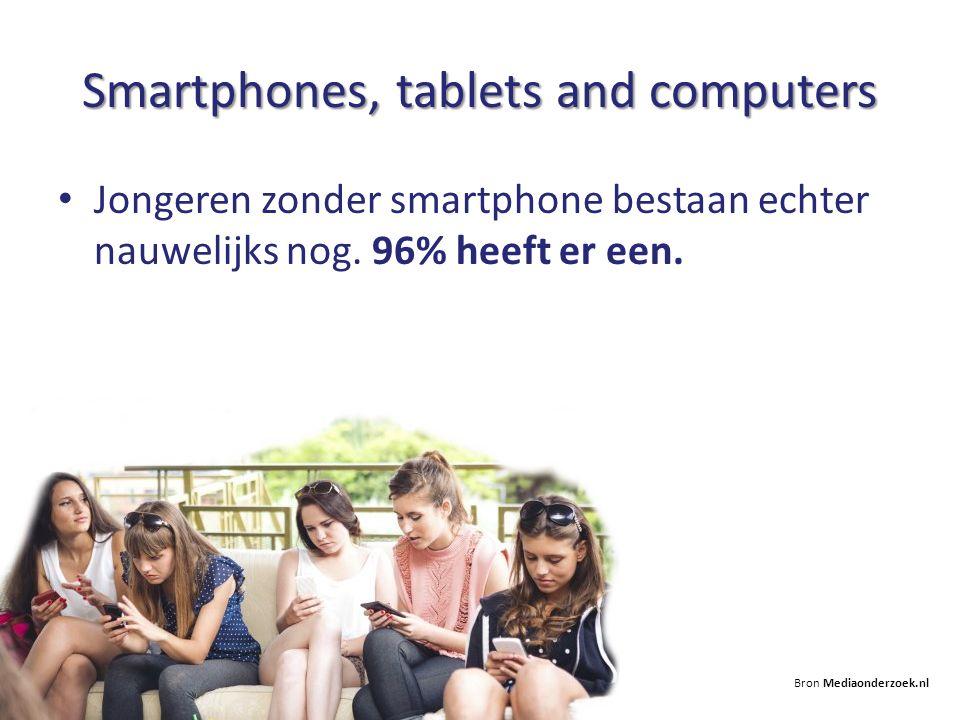Smartphones, tablets and computers Jongeren zonder smartphone bestaan echter nauwelijks nog. 96% heeft er een. Bron Mediaonderzoek.nl