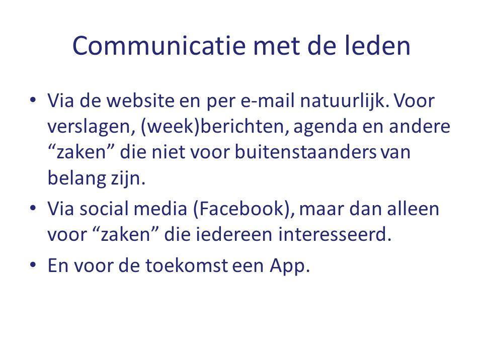 """Communicatie met de leden Via de website en per e-mail natuurlijk. Voor verslagen, (week)berichten, agenda en andere """"zaken"""" die niet voor buitenstaan"""