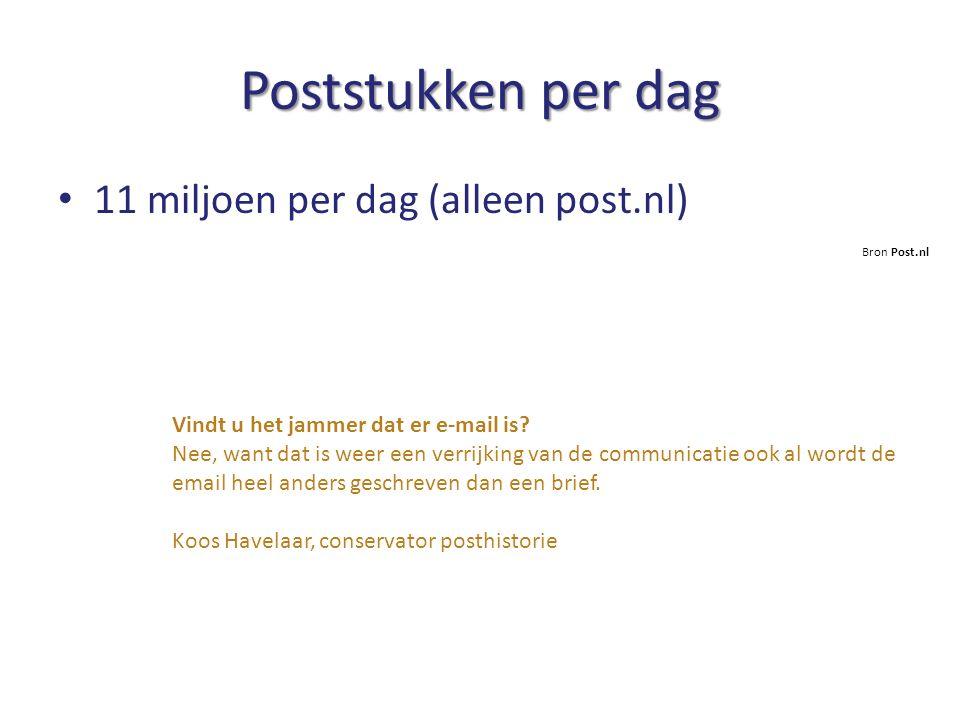 Poststukken per dag Bron Post.nl 11 miljoen per dag (alleen post.nl) Vindt u het jammer dat er e-mail is? Nee, want dat is weer een verrijking van de